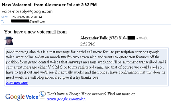 Google Voice Transcription