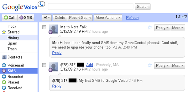 Google Voice SMS log