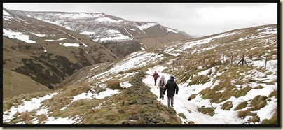 Approaching Jacob's Ladder along an icy path