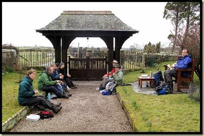 Lunching in the church yard at Sebergham