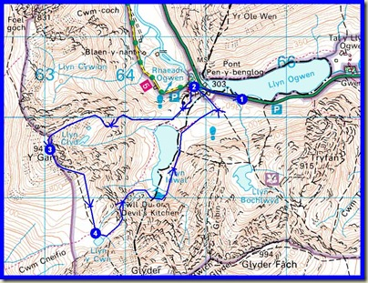 Today's route, about 9 km, 730 metres ascent, in 4 hours