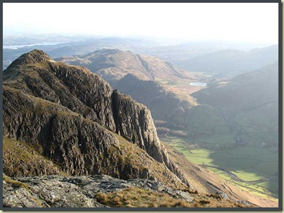 Lunchtime view from Pike O' Stickle, with Windermere and Blea Tarn