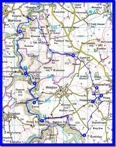 The 18km route, with 780 metres ascent took 5 hours (plus a couple in the pub)