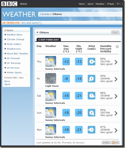 The weather forecast for Ottawa - 20/1/11