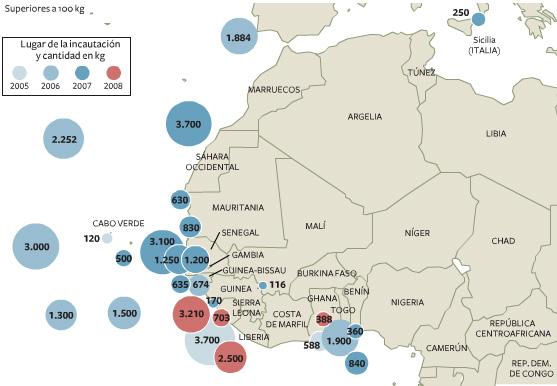 Mapa La nueva ruta de la Cocana El frica Occidental