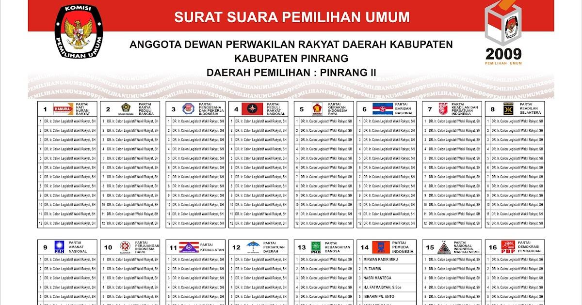 Vektor Surat Suara Pemilu 2009 Pemuda Pinrang