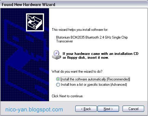 BCM2035 terdeteksi setelah mengedit file bth.inf