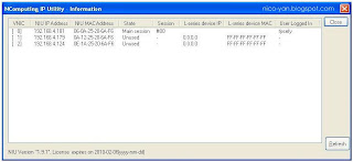 Screenshot NIU IP utility information