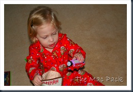Christmas Morning & Savannah with her stocking