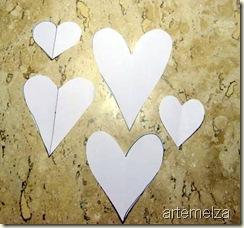 molde de coração de papel