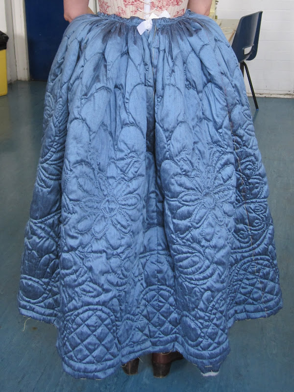 Back of Eva's quilted petticoat during fitting
