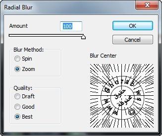 اعدادات فلتر Radial Blur