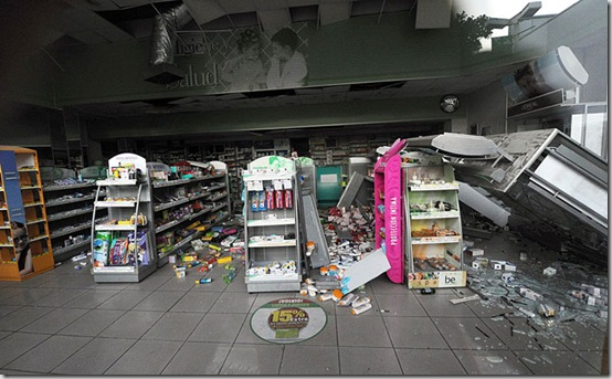 The walls and aisles of a pharmacy in Vina del Mar are seen destroyed after a huge 8.8-magnitude earthquake rocked Chile early killing at least 78 people, on February 27, 2010. The massive quake plunged much of the Chilean capital, Santiago, into darkness as it snapped power lines and severed communications, and AFP journalists spoke of walls and masonry collapsing. People in pyjamas fled onto the streets. AFP PHOTO/MARTIN BERNETTI (Photo credit should read MARTIN BERNETTI/AFP/Getty Images)
