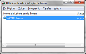 Programa SafeSign com um e-CNPJ A3 plugado