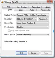 Configurações do Winamp TV