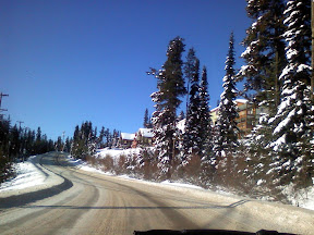 Leaving Big White Winter Rally in Kelowna, BC. Taken from inside the Saab Rally Car.