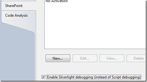 Enabling Silverlight Debugging from a SharePoint project