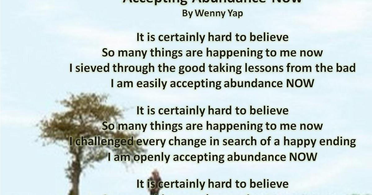 My Poem Accepting Abundance Now Wenny YapCom