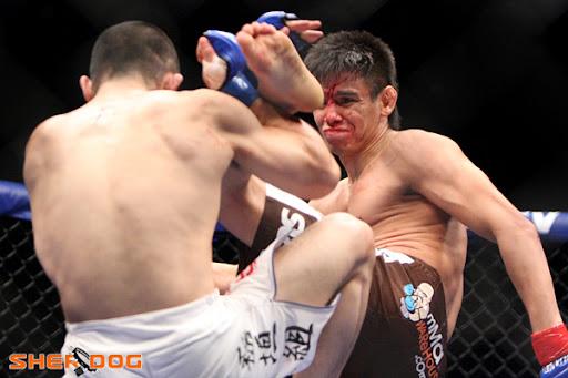 Miguel Torres (red glove tape) vs. Yoshiro Maeda