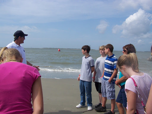 The Beach program on Sullivan's Island discussing the geography of Charleston Harbor.