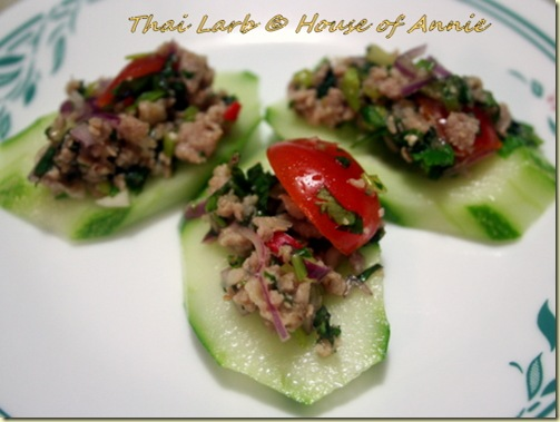 thai larb on cucumber slices