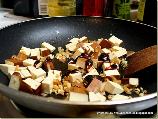 Frying Savory Tofu with Oyster Sauce