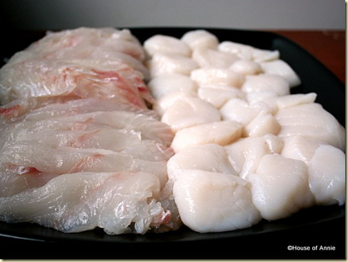 Sliced Halibut and Large Scallops for Cioppino