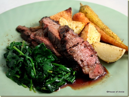WSM Grilled Ribeye Steaks with Sauteed Bloomsdale Spinach and Oven-Roasted Root Vegetables