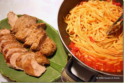 Pork Tenderloin and Fettucine