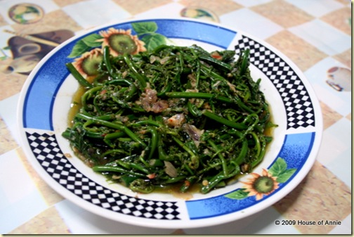 paku stir-fried with belacan