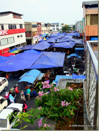 Satok Market from the footbridge