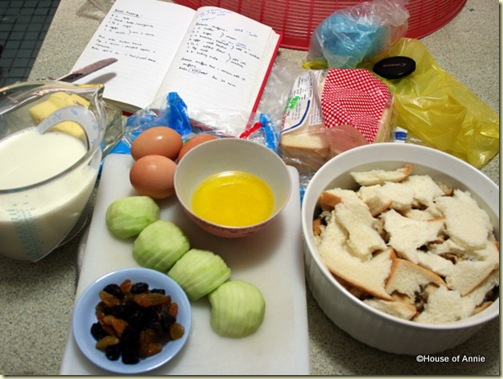 bread pudding mise en place