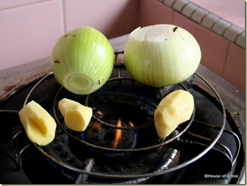 roasting onion and ginger for pho