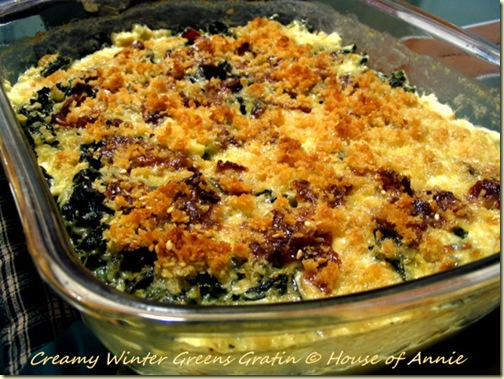 creamy winter greens gratin hero