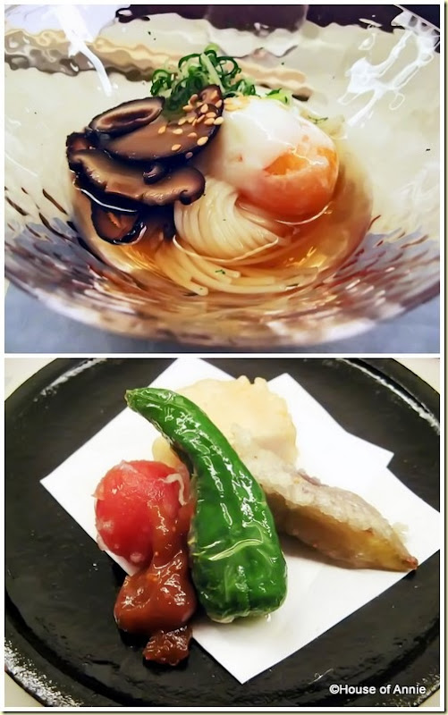 shiitake and soft-boiled egg on somen and deep fried seasonal items from maru in aoyama
