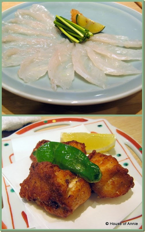 fugu blowfish sashimi and fried from asahi sushi in machida