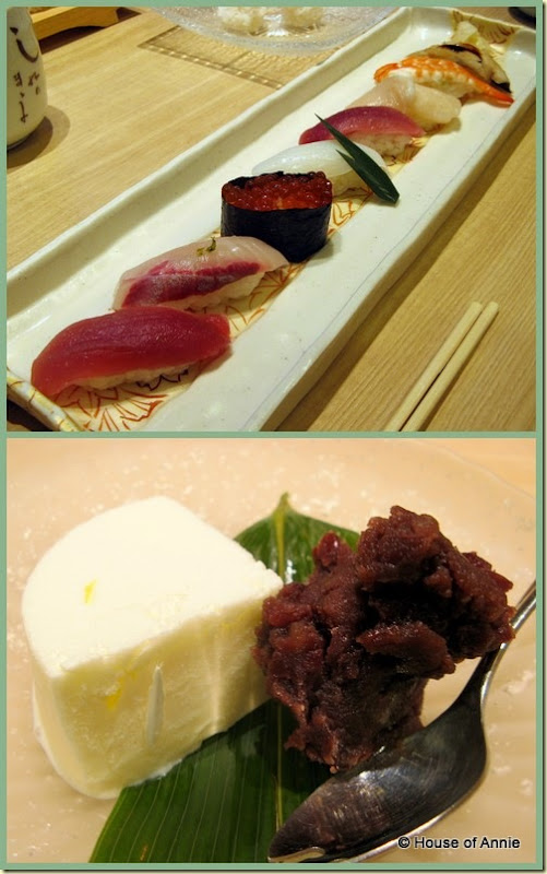 sushi platter and ice cream with red bean from asahi sushi in machida