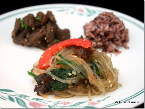 korean jap chae and bulgogi