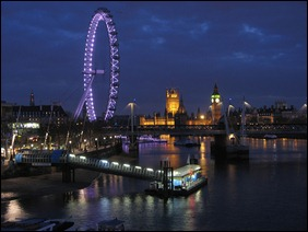 The London Eye and Houses of Parliament by night. Very restful.