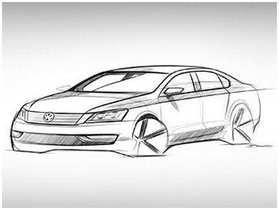 Volkswagen has shown the sketch of a sedan for the US car market