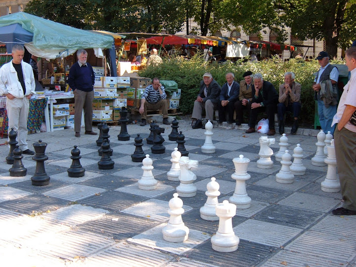 Men Playing Chess During the Sarajevo Bee Festival