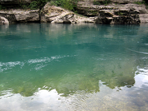 The beautifully emerald water