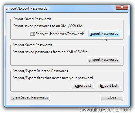 Mozilla Firefox Import Export Passwords