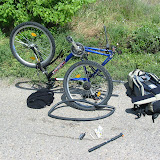 Nach 20km zerbröselte der Schlauch des Hinterrads...