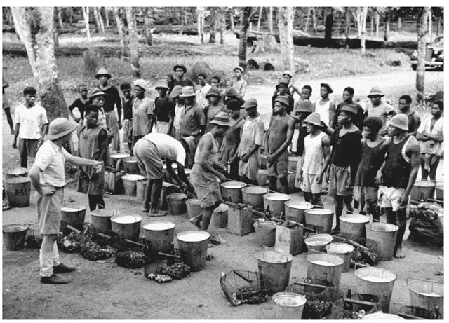 Rubber Gatherers in Cameroon. Inspectors check the latex collected by native laborers in 1941 in Cameroon. Although the African rubber boom ended in about 1913, rubber production continued in Africa into the later decades of the twentieth century.