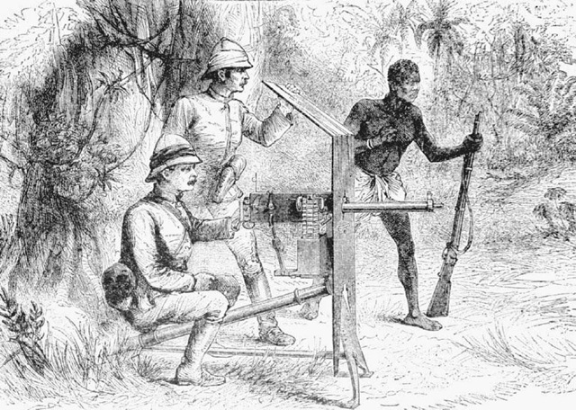 The Maxim Gun. This late nineteenth-century illustration depicts the first trial of the automatic Maxim machine gun by British Troops in Africa in 1887. The gun was designed by Hiram Maxim in the early 1880s.