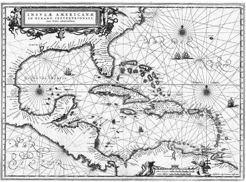 Map of the Caribbean, circa 1630s. The Caribbean islands lie on the northern and eastern sides of the Caribbean Sea, stretching in an elongated S shape from the Bahamas and Cuba in the north and west to Trinidad in the south.