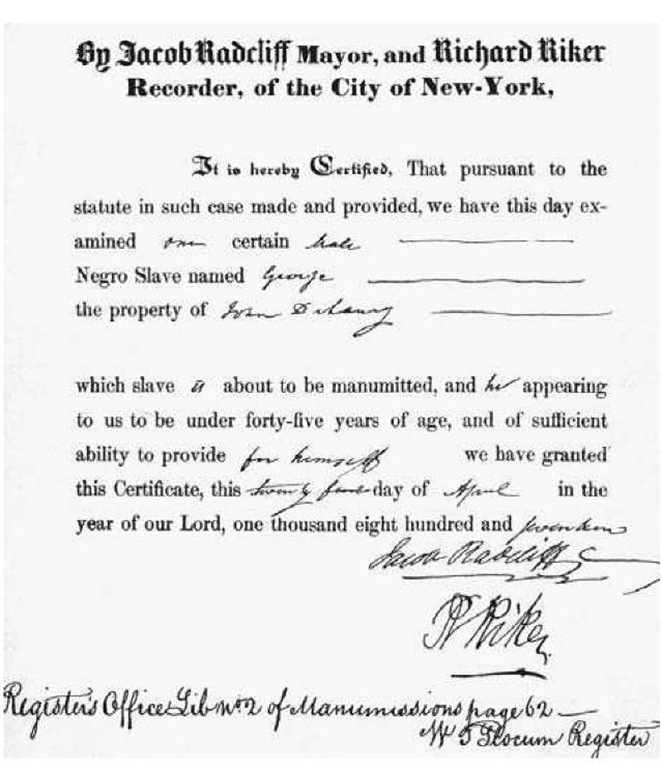 New York City Manumission Certificate. This certificate of manumission, freeing a slave named George, was signed by New York mayor Jacob Radcliffand city recorder Richard Riker in 1817.