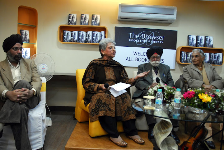 Pankaj Singh of the Browser, Mrs Baljit Gandhi, Brig Gobindar Singh and Mrs Inderjit Kaur at the book launch of Darpan