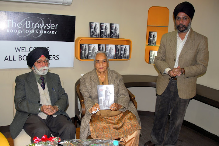 Brig Gobindar Singh and Mrs Inderjit Kaur and Mr Pankaj Singh of the Browser at the book launch of Darpan